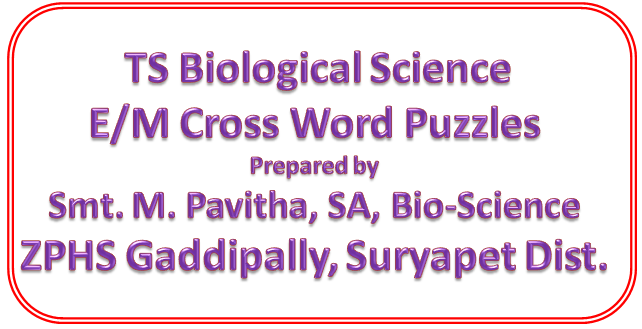 TS Bio-Science : Chapter Nutrition, 4 Cross Word Puzzules Prepared by Smt. Pavithra,SA, ZPHS Gaddipally, Suryapet Dist.
