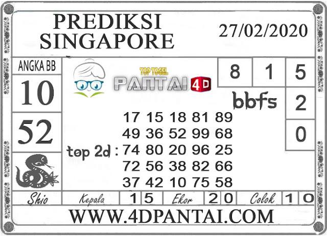 PREDIKSI TOGEL SINGAPORE PANTAI4D 27 FEBRUARI 2020