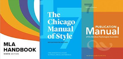 Covers of the 9th edition of the MLA Style Guide, the 17th edition of the Chicago Manual of Style, and the 7th edition of The Publication Manual of the American Psychological Association
