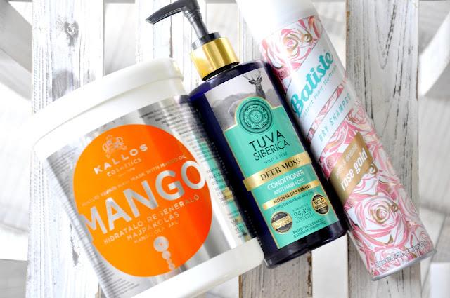 maska do włosów kallos mango, odżywka do włosów natura siberica tuva siberica deer moss anti hair-loss, suchy szampon batiste rose gold
