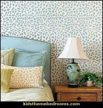 wild animal print bedroom decor  - leopard print decorating ideas- giraffe print - zebra print - cheetah bedroom decor - wild animal print decorating  - leopard print decor - leopard print walls -  tiger wall decal