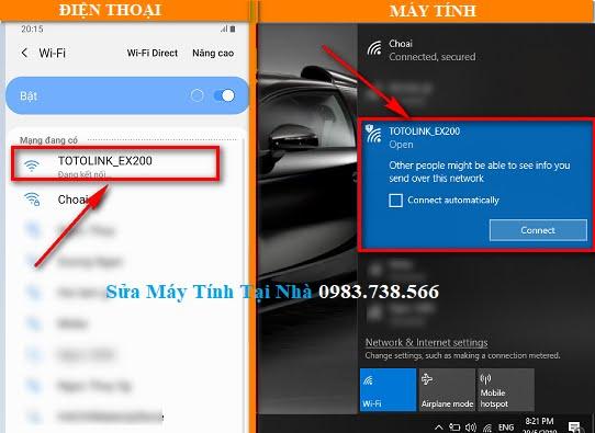 Dùng điện thoại hoặc máy tính truy cập vào mạng Wifi của TotoLink