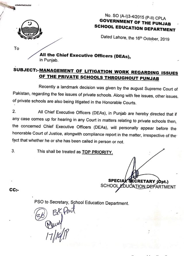 MANAGEMENT OF LITIGATION WORK REGARDING ISSUES OF THE PRIVATE SCHOOLS THROUGHOUT PUNJAB