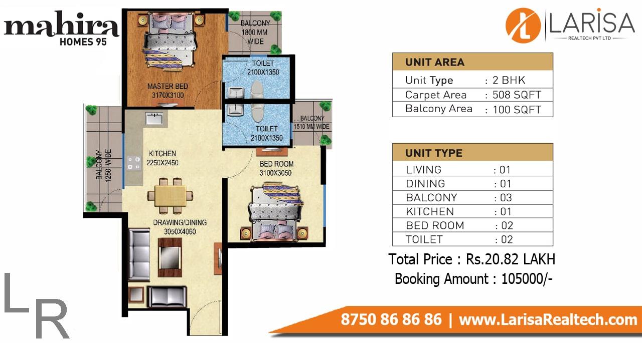 Mahira Homes 95 2BHK Floor Plan
