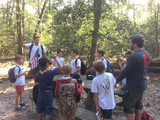 Cub Scout Den Meeting - hiking in the woods