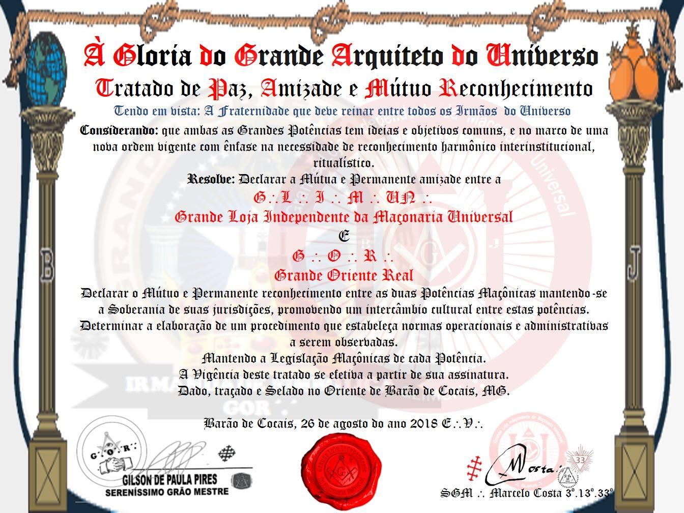 f004759683 Tratado de Amizade ( Grande Loja Independente Da Maçonaria Universal ...