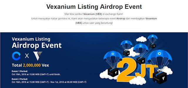 Event Giveaway 2 Juta Token Airdrop Vexanium (VEX) Gratis Terbaru
