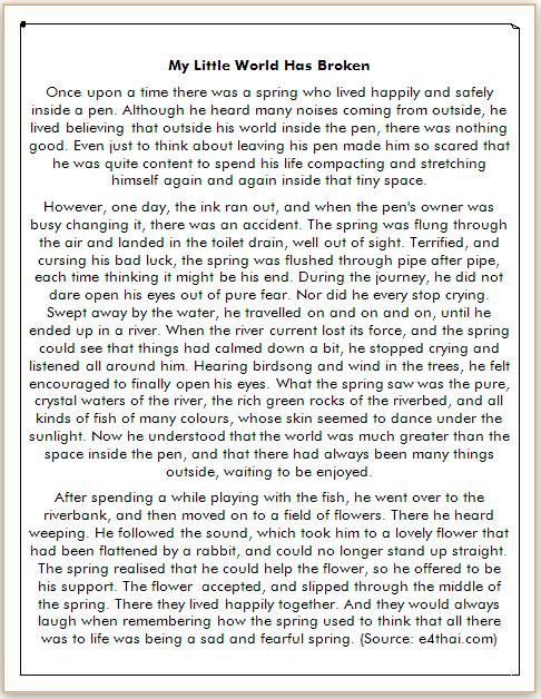 cerita dongeng bahasa inggris tentang kehidupan