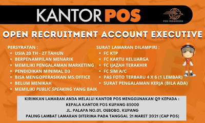 Lowongan Kerja Kantor Pos Kupang Sebagai Account Executive