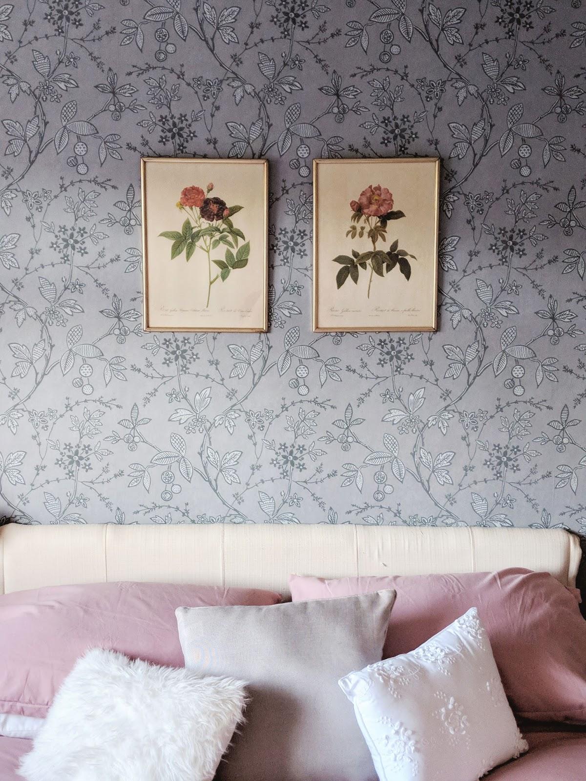 Grey Floral Bedroom