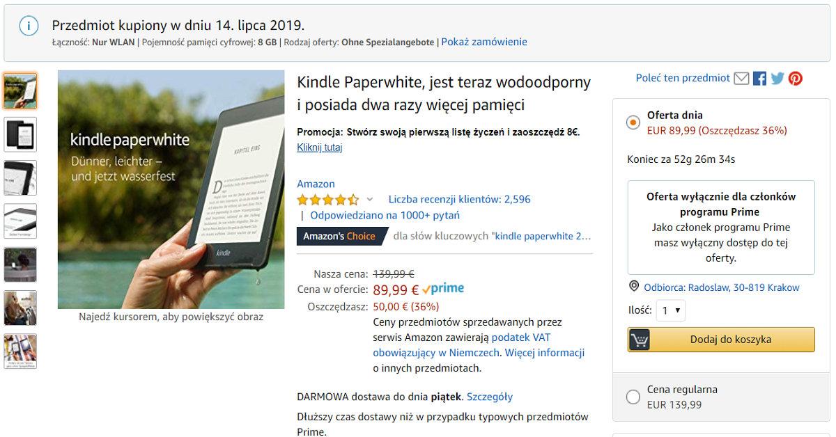 Kindle Paperwhite 4 przeceniony dla uczestników programu Amazon Prime