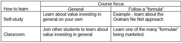 How to learn vs course focus matrix