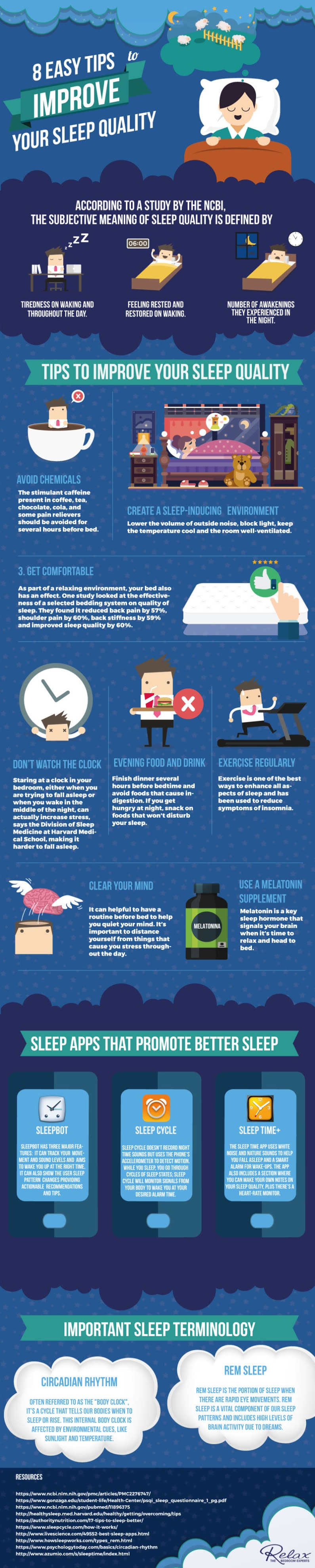 8 Easy Tips to Improve Your Sleep Quality #infographic