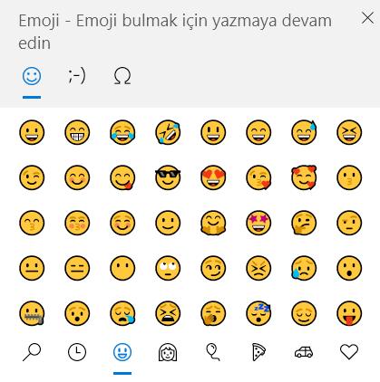 Windows 10 Emoji Klavye Ekranı
