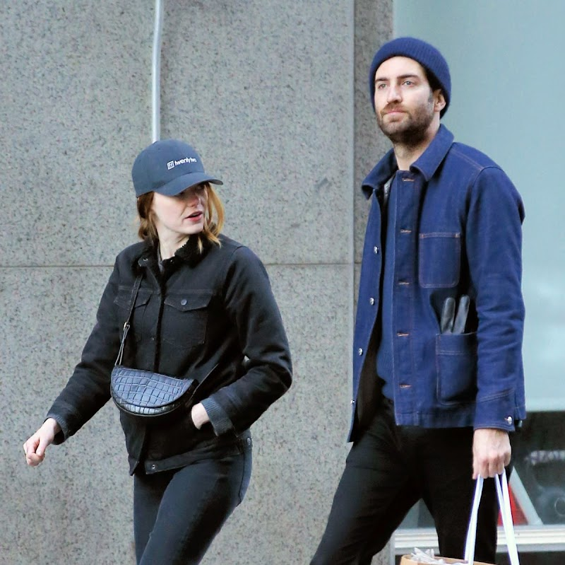 Emma Stone, Dave McCary Clicked Outside in New York 30 Nov-2019