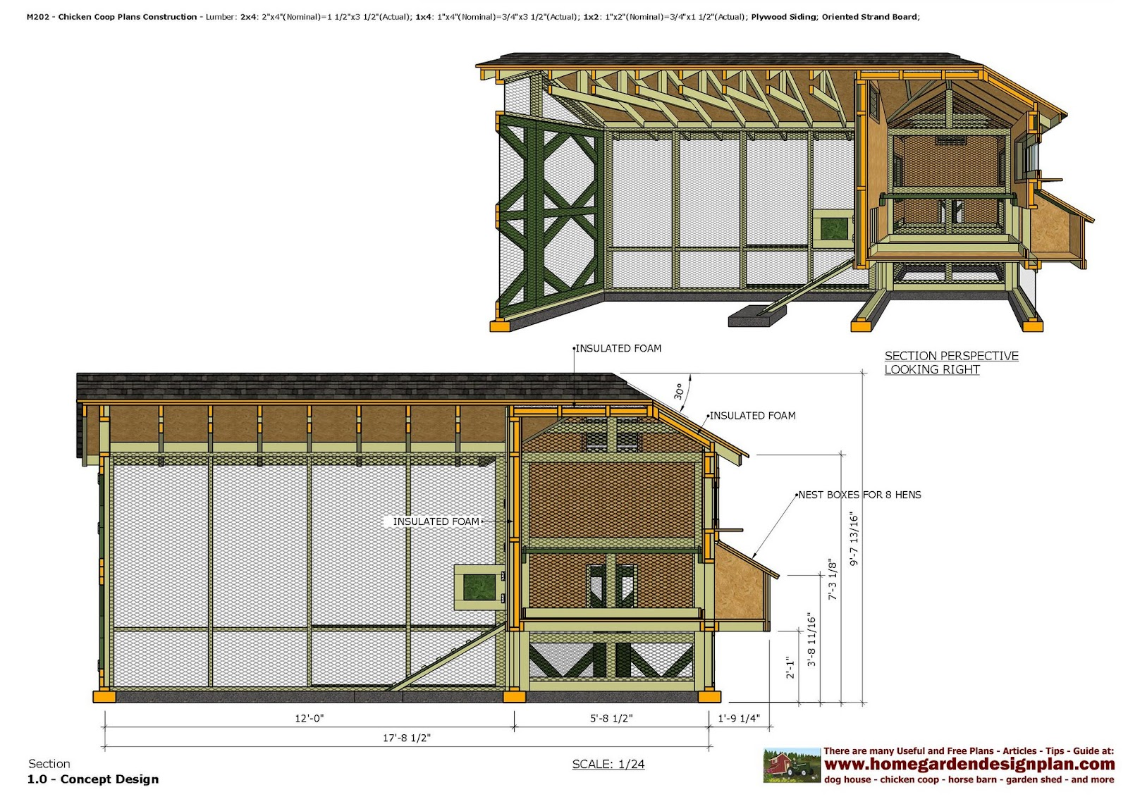 Home garden plans m202 2 in 1 chicken coop plans for Plans for a chicken coop for 12 chickens