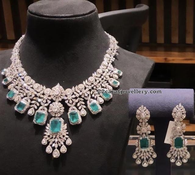 Regal Diamond Emerald Necklace