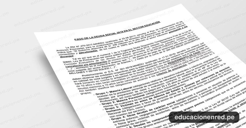Pago de la Deuda Social 2018 en el Sector Educación (Fernando Gamarra Morales)