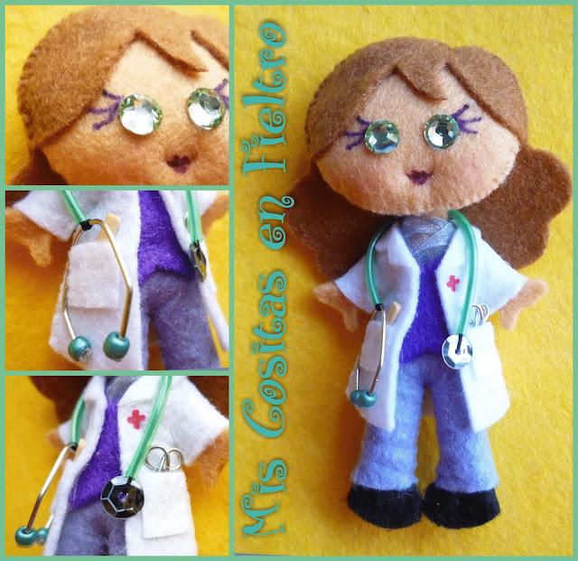 broche de fieltro, broche en fieltro, doctora fieltro, médica fieltro