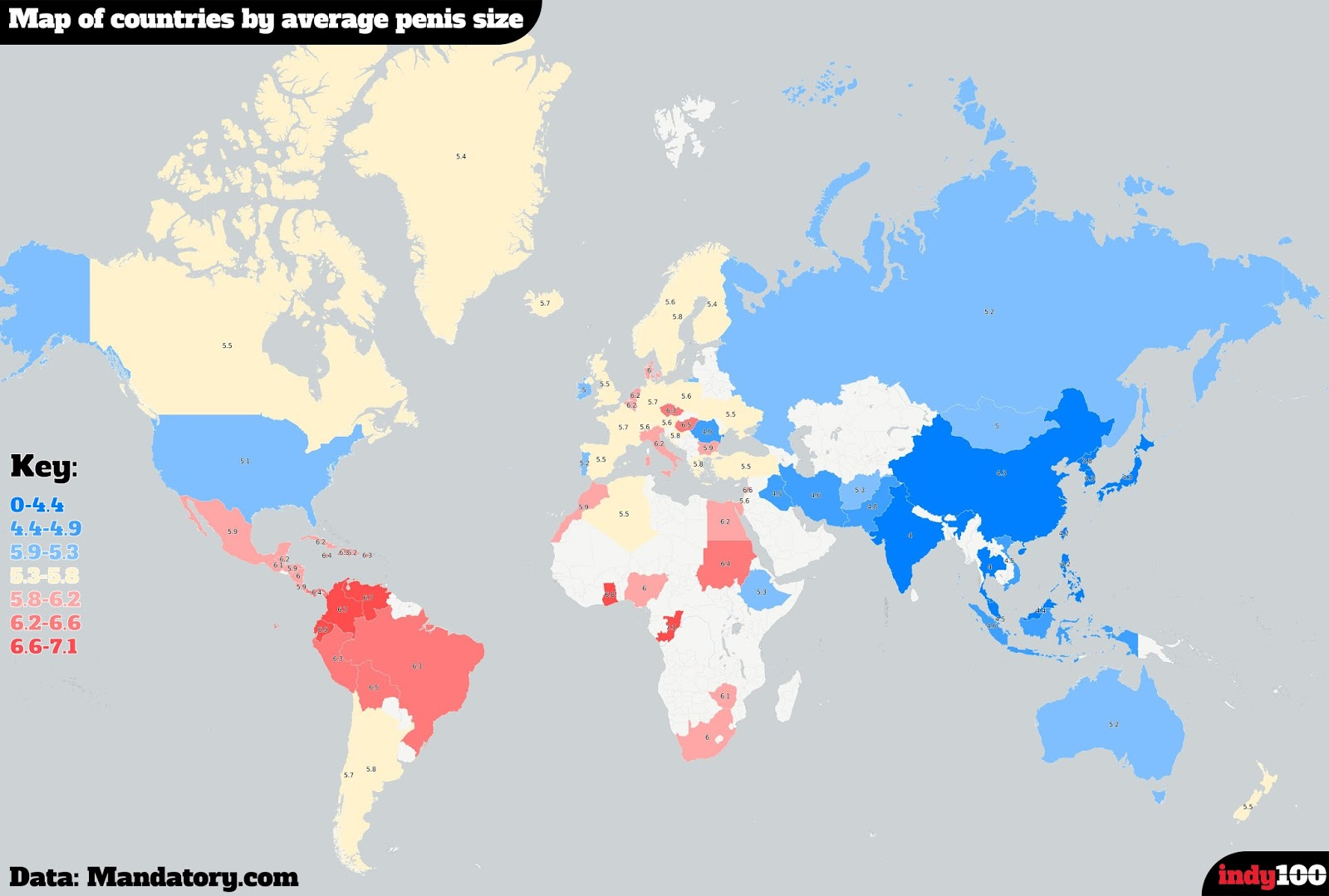 Map of countries by average penis size