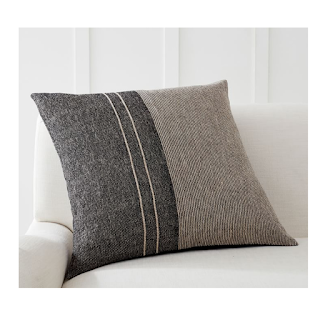 neutral two tone throw pillow cover in sand and black