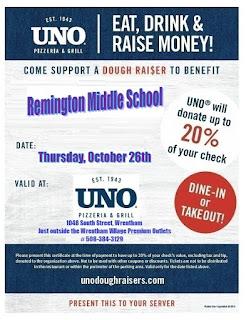 Dinner at UNO's - Oct 26 - fund raiser for Remington