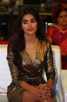 Pooja Hegde looks glamarous in deep neck sleevless short tight golden gown at Duvvada Jagannadham thank you meet function 169.JPG