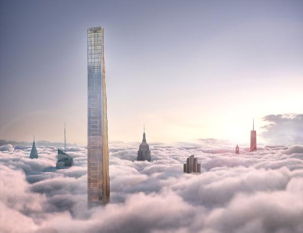 Phần đỉnh vươn cao lên tận mây xanh của tòa tháp chọc trời siêu nhỏ ở New York
