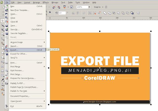 Cara Export atau Menyimpan File CorelDRAW Menjadi JPG atau PNG dan Jenis File Lainnya