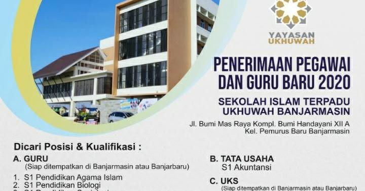 Lowongan Penerimaan Pegawai Dan Guru Di Sit Ukhuwah Tahun 2020 Sekolah Islam Terpadu Ukhuwah Banjarmasin