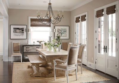 Dining Room Window Treatments-Wood Shades