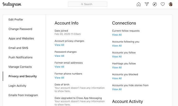 بخلاف الأنظمة الأساسية الأخرى ، يمكنك عرض بيانات Instagram الخاصة بك دون تنزيلها.
