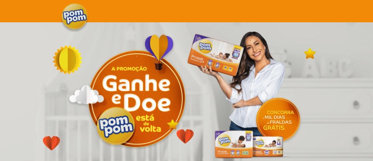 Participar Promoção POMPOM 2021 Fraldas Grátis Por Mil Dias - Ganhe e Doe