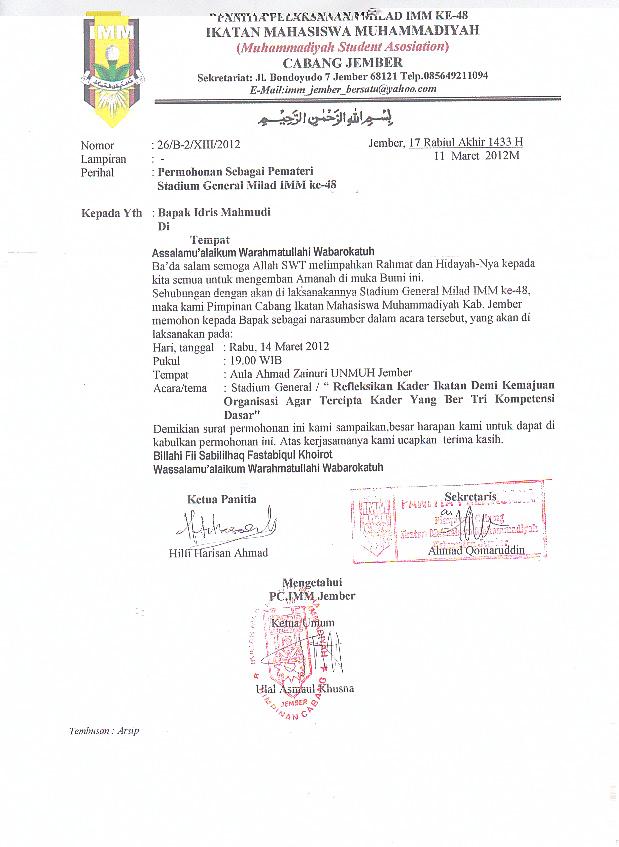 Contoh Surat Permohonan Pemateri Contohsurat