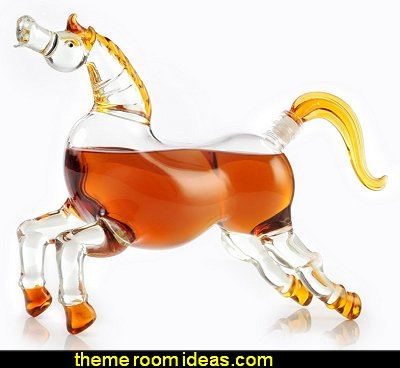 Horse Bourbon (Whiskey) Decanter for Scotch, Vodka, Rum, Liquor 750ml Decanter with Colored Glass