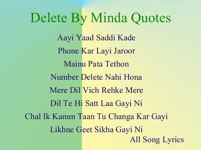 Delete Song By Minda Lyrics