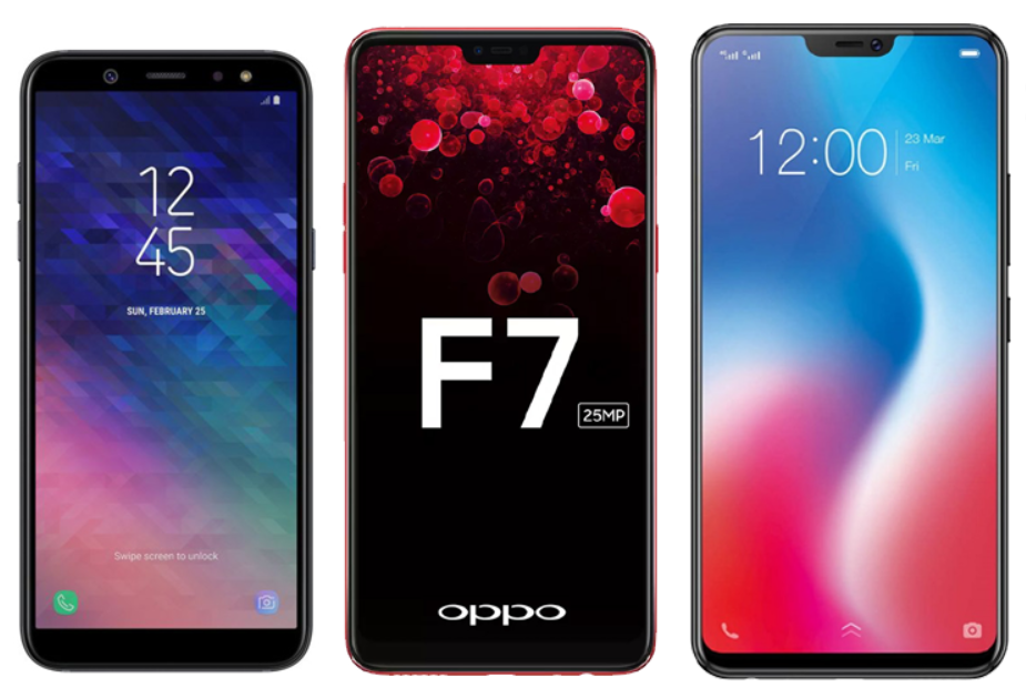 Samsung Galaxy A6 vs OPPO F7 vs Vivo V9