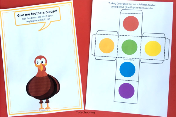 Turkey Colors Roll the Dice Activity Totschooling - Toddler