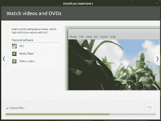 LinuxMint19 Tara installation slide show watch video and DVD