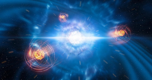 A team of European researchers, using data from the X-shooter instrument on ESO's Very Large Telescope, has found signatures of strontium formed in a neutron-star merger. This artist's impression shows two tiny but very dense neutron stars at the point at which they merge and explode as a kilonova. In the foreground, we see a representation of freshly created strontium.  Credit: ESO/L. Calçada/M. Kornmesser
