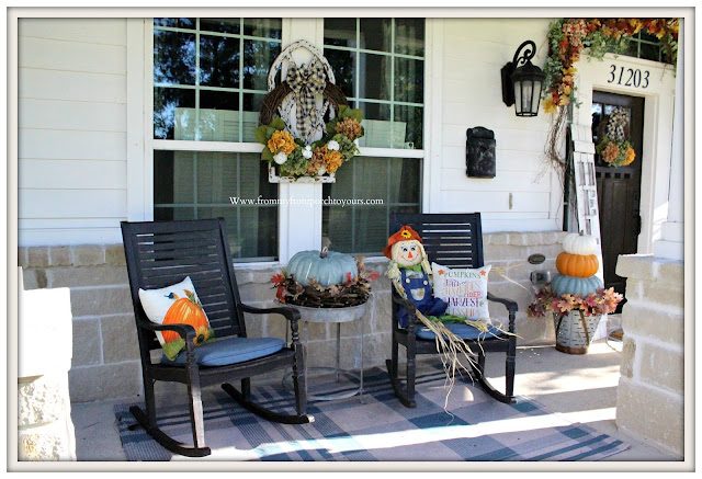 Fall -Porch-Rocking-Chairs-DIY-Fall-decor-hydrangea-wreath-scarecrow-From My Front Porch To Yours
