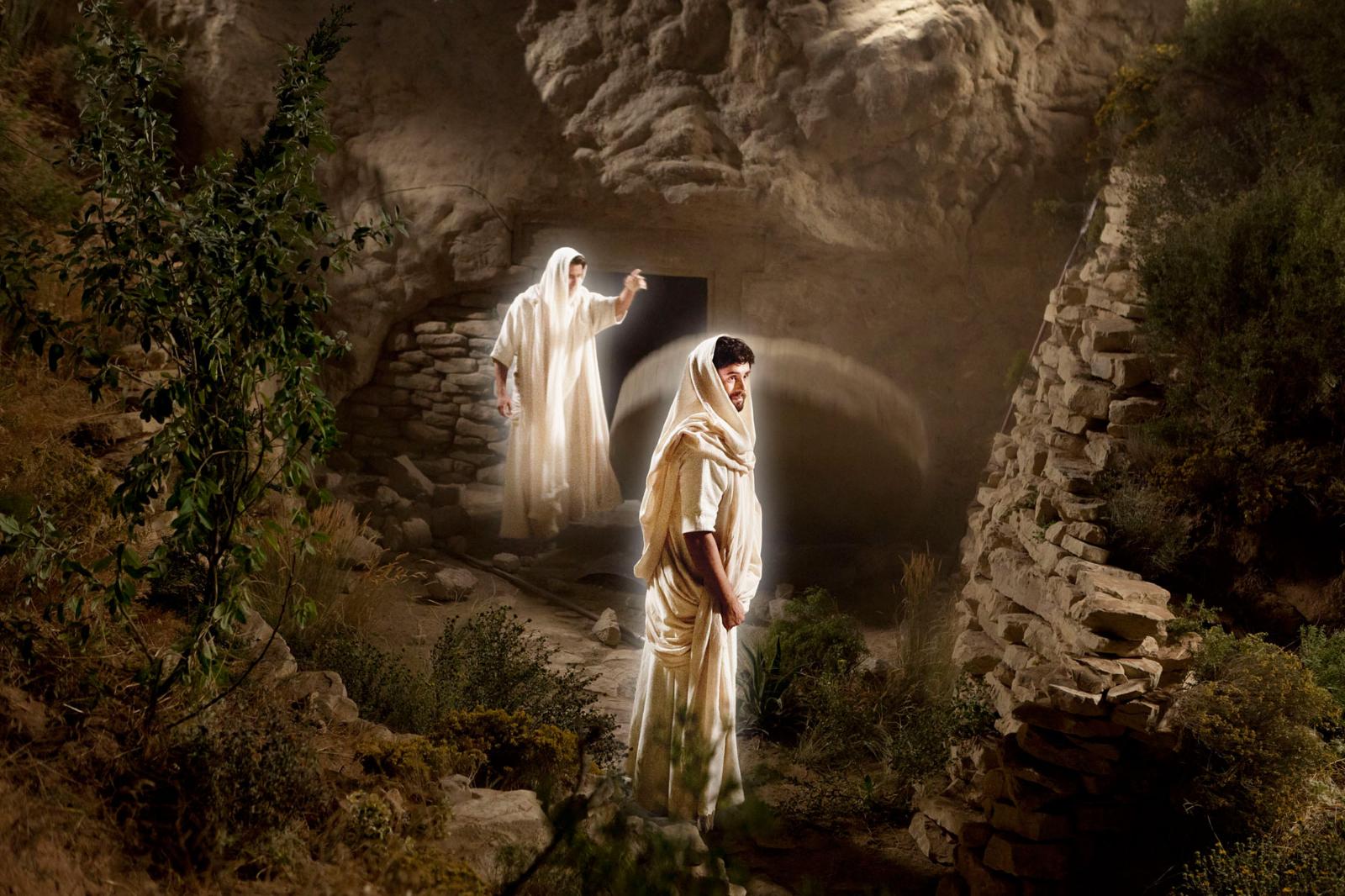 Anjos no sepulcro de Cristo