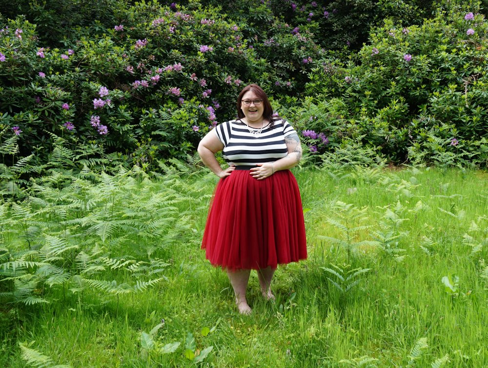 Society+ cranberry red tutu & tulle skirt styling tips ...