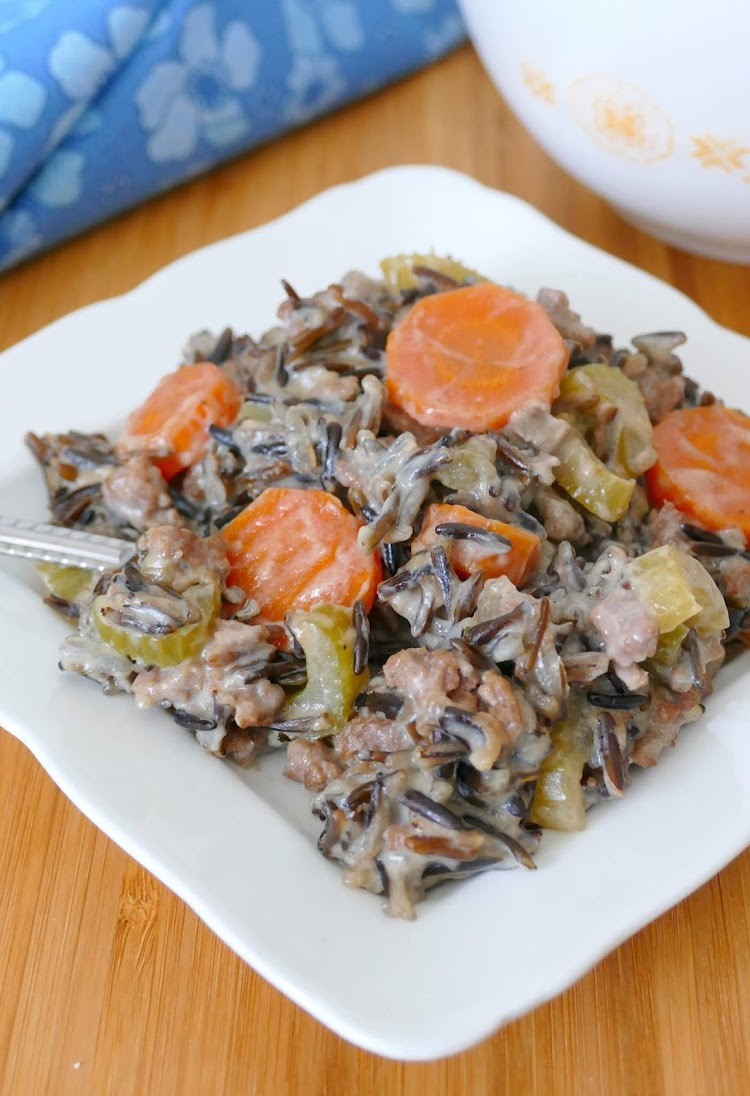 This old school comfort food casserole is hearty, delicious and just like Grandma used to make! It's full of vegetables like onions, carrots and celery and is packed with protein from the ground beef and wild rice. This is a family favorite and perfect for any winter meal.