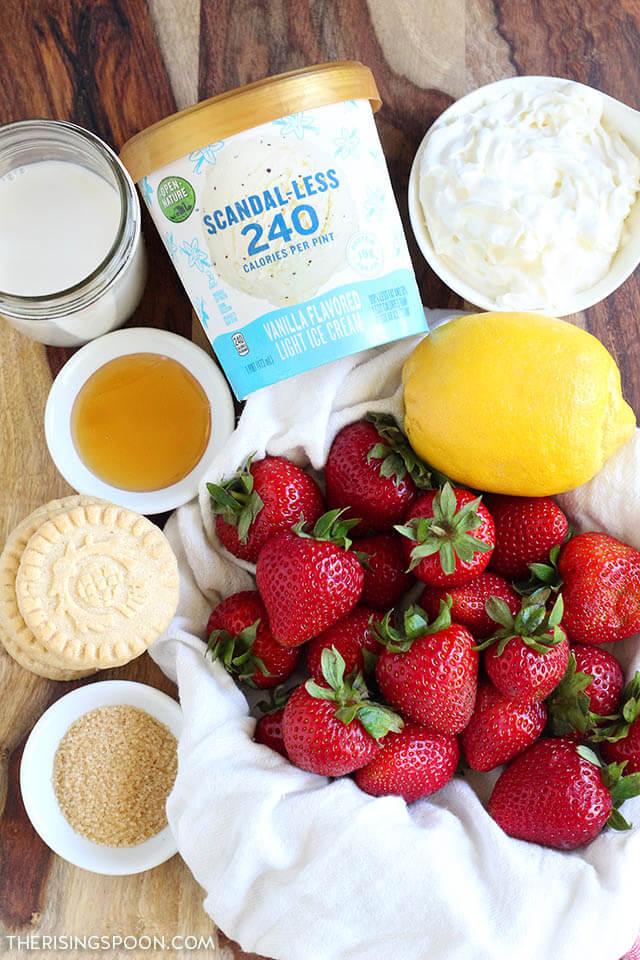 Ingredients for Lemony Strawberry Shortcake Milkshakes with Open Nature Scandal-less light ice cream