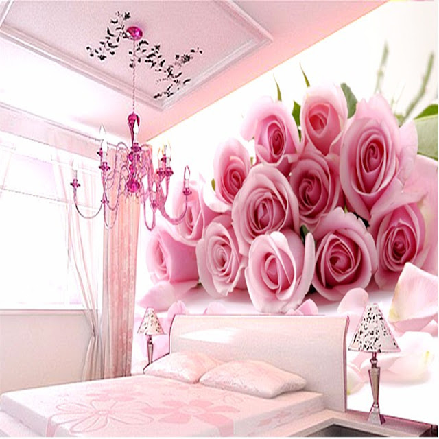 Photo Wallpaper for Bedroom Wall Murals Romantic Pink Roses