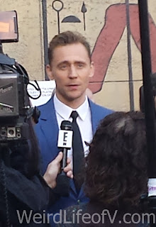 Tom Hiddleston being interviewed on the red carpet