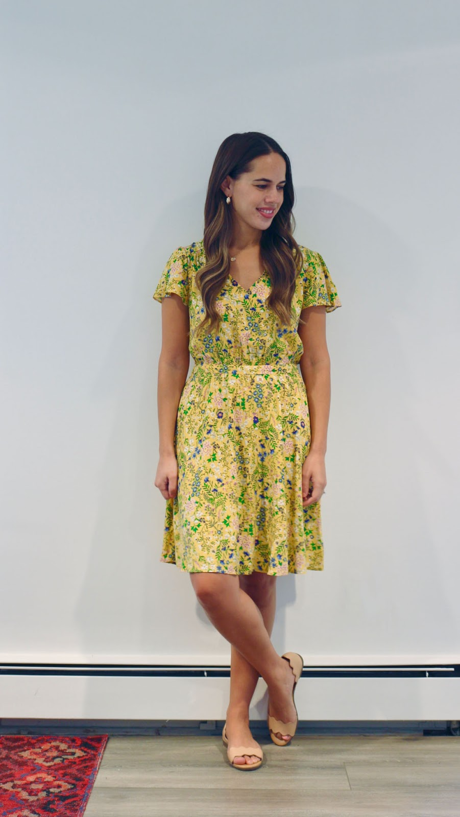 Jules in Flats -  Yellow Floral V-Neck Dress (Business Casual Summer Workwear on a Budget)