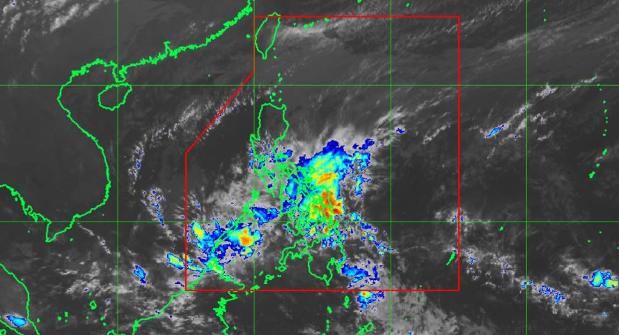 "Satellite image of Tropical Depression ""Basyang"" as of 8:30 am, February 14."