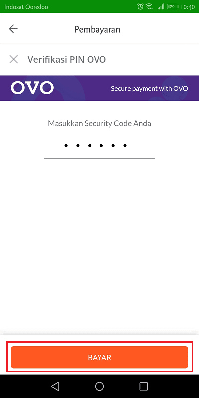 memasukkan pin ovo untuk verifikasi pembayaran di tokopedia